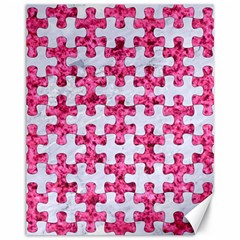 Puzzle1 White Marble & Pink Marble Canvas 11  X 14   by trendistuff
