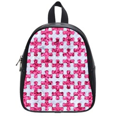 Puzzle1 White Marble & Pink Marble School Bag (small) by trendistuff