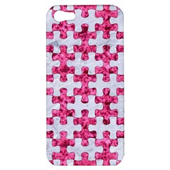 Puzzle1 White Marble & Pink Marble Apple Iphone 5 Hardshell Case by trendistuff