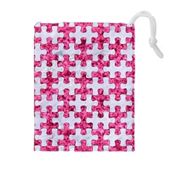 Puzzle1 White Marble & Pink Marble Drawstring Pouches (extra Large) by trendistuff