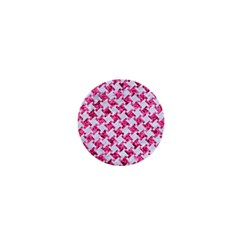Houndstooth2 White Marble & Pink Marble 1  Mini Magnets by trendistuff