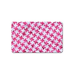 Houndstooth2 White Marble & Pink Marble Magnet (name Card) by trendistuff