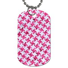 Houndstooth2 White Marble & Pink Marble Dog Tag (one Side) by trendistuff