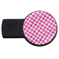 Houndstooth2 White Marble & Pink Marble Usb Flash Drive Round (4 Gb) by trendistuff