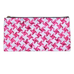 Houndstooth2 White Marble & Pink Marble Pencil Cases by trendistuff
