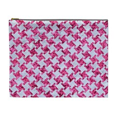 Houndstooth2 White Marble & Pink Marble Cosmetic Bag (xl) by trendistuff