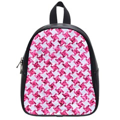 Houndstooth2 White Marble & Pink Marble School Bag (small) by trendistuff