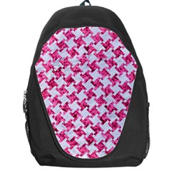 Houndstooth2 White Marble & Pink Marble Backpack Bag by trendistuff