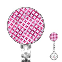 Houndstooth2 White Marble & Pink Marble Stainless Steel Nurses Watch by trendistuff