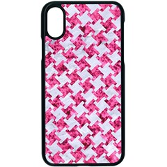 Houndstooth2 White Marble & Pink Marble Apple Iphone X Seamless Case (black)
