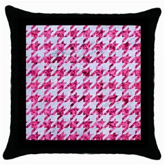 Houndstooth1 White Marble & Pink Marble Throw Pillow Case (black) by trendistuff
