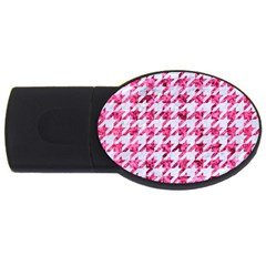 Houndstooth1 White Marble & Pink Marble Usb Flash Drive Oval (4 Gb) by trendistuff