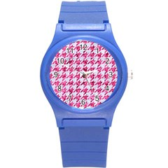 Houndstooth1 White Marble & Pink Marble Round Plastic Sport Watch (s) by trendistuff