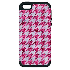 Houndstooth1 White Marble & Pink Marble Apple Iphone 5 Hardshell Case (pc+silicone) by trendistuff