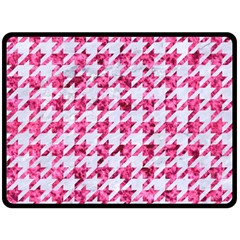 Houndstooth1 White Marble & Pink Marble Double Sided Fleece Blanket (large)  by trendistuff