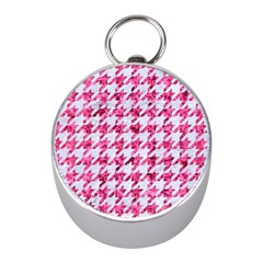 Houndstooth1 White Marble & Pink Marble Mini Silver Compasses by trendistuff