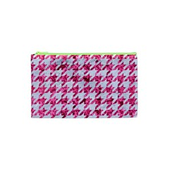 Houndstooth1 White Marble & Pink Marble Cosmetic Bag (xs) by trendistuff