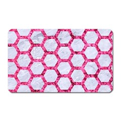Hexagon2 White Marble & Pink Marble (r) Magnet (rectangular) by trendistuff