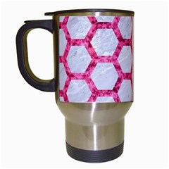 Hexagon2 White Marble & Pink Marble (r) Travel Mugs (white) by trendistuff