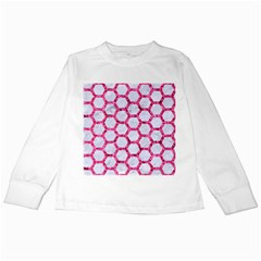 Hexagon2 White Marble & Pink Marble (r) Kids Long Sleeve T Shirts by trendistuff