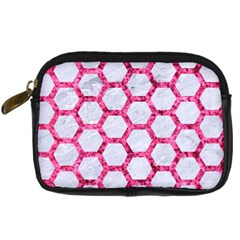 Hexagon2 White Marble & Pink Marble (r) Digital Camera Cases by trendistuff