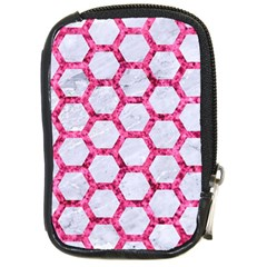 Hexagon2 White Marble & Pink Marble (r) Compact Camera Cases by trendistuff