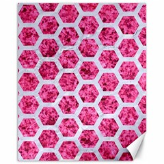 Hexagon2 White Marble & Pink Marble Canvas 11  X 14   by trendistuff