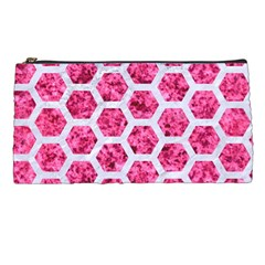 Hexagon2 White Marble & Pink Marble Pencil Cases by trendistuff
