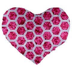 Hexagon2 White Marble & Pink Marble Large 19  Premium Heart Shape Cushions