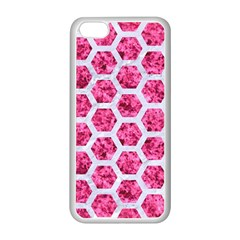Hexagon2 White Marble & Pink Marble Apple Iphone 5c Seamless Case (white) by trendistuff