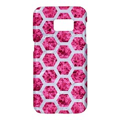 Hexagon2 White Marble & Pink Marble Samsung Galaxy S7 Hardshell Case  by trendistuff