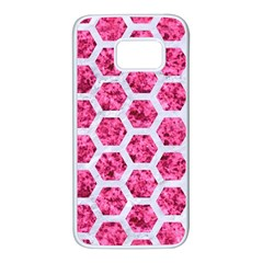 Hexagon2 White Marble & Pink Marble Samsung Galaxy S7 White Seamless Case by trendistuff