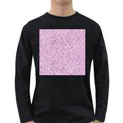 Hexagon1 White Marble & Pink Marble (r) Long Sleeve Dark T Shirts