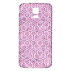Hexagon1 White Marble & Pink Marble (r) Samsung Galaxy S5 Back Case (white) by trendistuff
