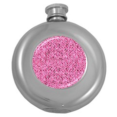 Hexagon1 White Marble & Pink Marble Round Hip Flask (5 Oz) by trendistuff