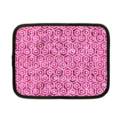 Hexagon1 White Marble & Pink Marble Netbook Case (small)  by trendistuff