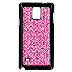 Hexagon1 White Marble & Pink Marble Samsung Galaxy Note 4 Case (black)