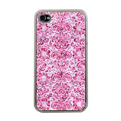 Damask2 White Marble & Pink Marble (r) Apple Iphone 4 Case (clear) by trendistuff