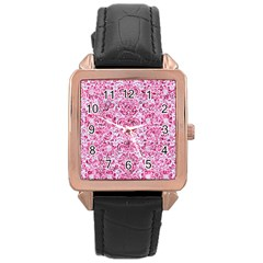 Damask2 White Marble & Pink Marble (r) Rose Gold Leather Watch