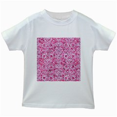 Damask2 White Marble & Pink Marble Kids White T Shirts by trendistuff
