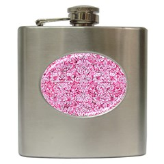 Damask2 White Marble & Pink Marble Hip Flask (6 Oz) by trendistuff