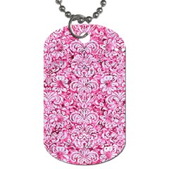 Damask2 White Marble & Pink Marble Dog Tag (two Sides) by trendistuff