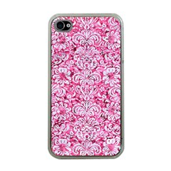 Damask2 White Marble & Pink Marble Apple Iphone 4 Case (clear) by trendistuff
