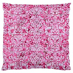 Damask2 White Marble & Pink Marble Large Cushion Case (two Sides) by trendistuff