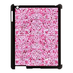 Damask2 White Marble & Pink Marble Apple Ipad 3/4 Case (black) by trendistuff