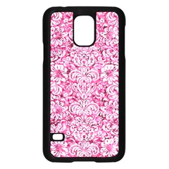 Damask2 White Marble & Pink Marble Samsung Galaxy S5 Case (black) by trendistuff