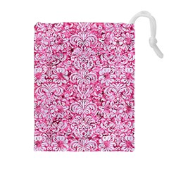 Damask2 White Marble & Pink Marble Drawstring Pouches (extra Large) by trendistuff
