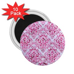 Damask1 White Marble & Pink Marble (r) 2 25  Magnets (10 Pack)  by trendistuff