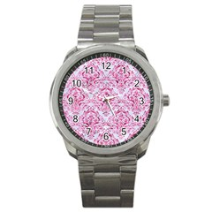 Damask1 White Marble & Pink Marble (r) Sport Metal Watch by trendistuff