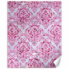 Damask1 White Marble & Pink Marble (r) Canvas 11  X 14   by trendistuff